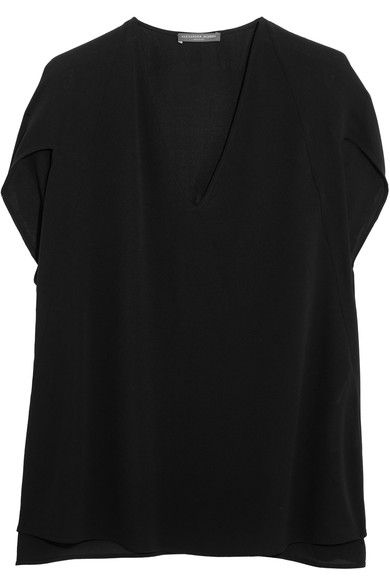 Cape-effect silk-crepe top