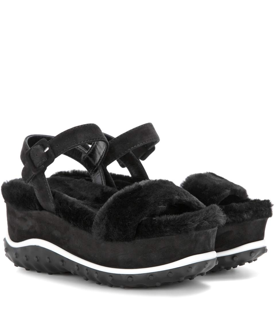 FUR AND SUEDE PLATFORM SANDALS