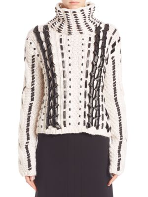 WOMAN CARAVAN LEATHER-TRIMMED CABLE-KNIT WOOL-BLEND SWEATER ECRU