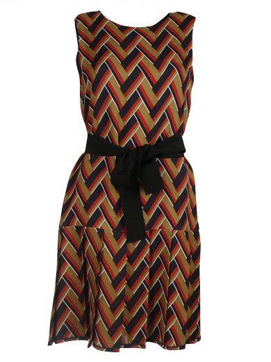 chevron pleated dress