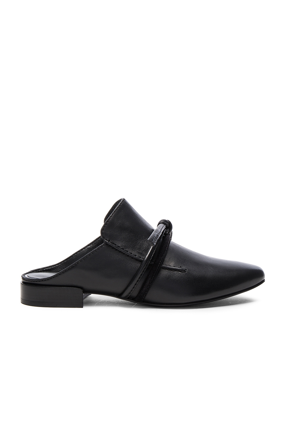 Louie suede-trimmed leather slippers