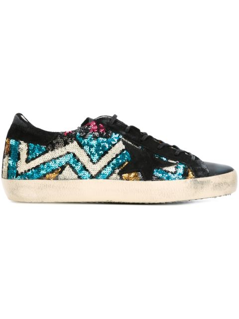 Super Star Leather and Sequin Sneakers