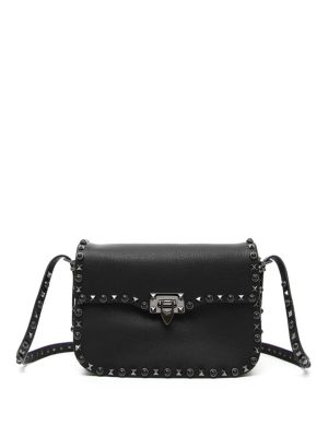'ROCKSTUD - NOIR' CALFSKIN LEATHER SHOULDER BAG - BLACK