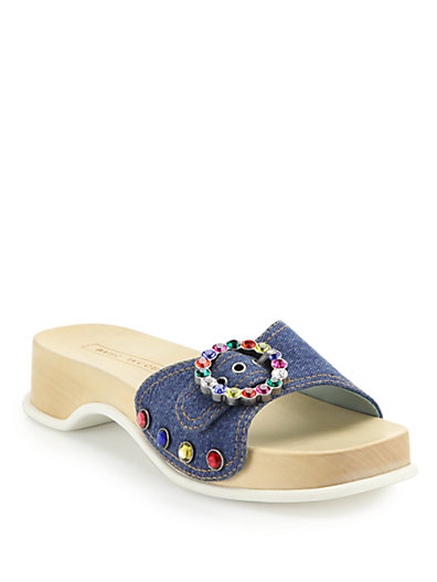 WOMAN CRYSTAL-EMBELLISHED DENIM PLATFORM SLIDES MID DENIM