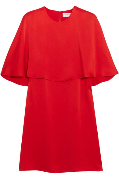 WOMAN CAPE-EFFECT SATIN-CREPE MINI DRESS RED