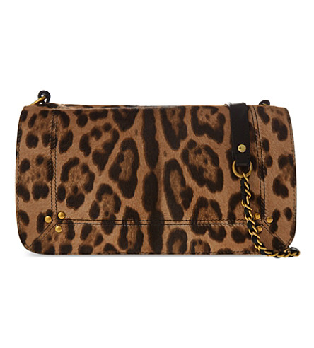 Leather Shoulder Bag with Printed Calf Hair