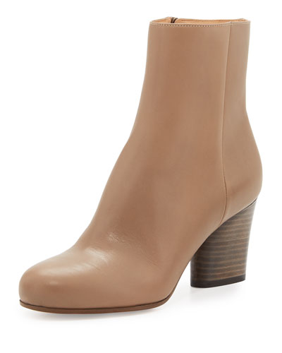 LEATHER 70MM ANKLE BOOT, TAUPE, BLACK