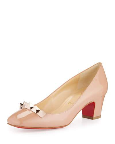 PYRAMIDAME BLOCK-HEEL RED SOLE PUMP, NUDE/ROSE GOLD, NUDE/GOLD ROSE