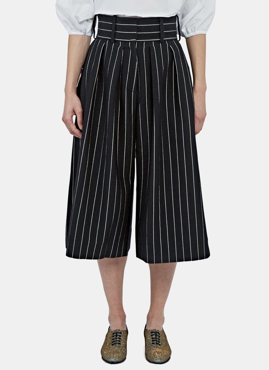 Women's Pinstripe Front Pleat Culottes in Black