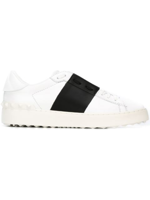 OPEN WHITE LEATHER TRAINERS