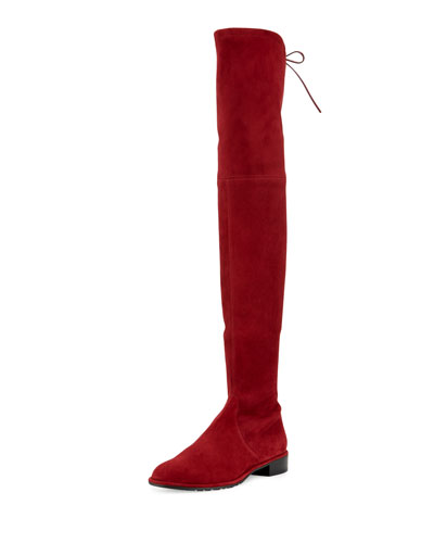 LOWLAND SUEDE OVER-THE-KNEE BOOT, SCARLET SUEDE