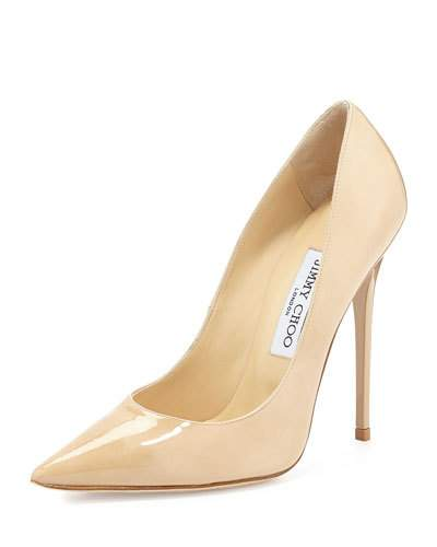 120Mm Anouk Patent Leather Pumps, Nude