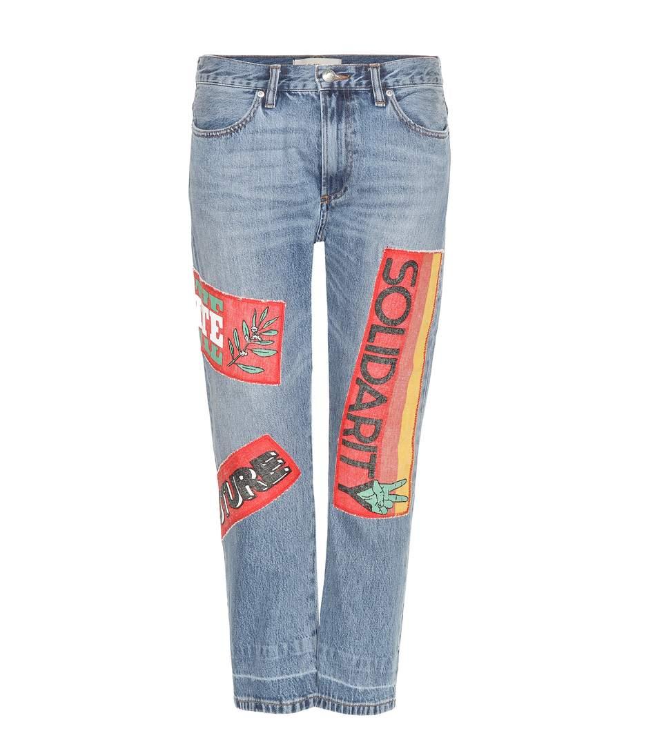 Graphic Banner Appliqué Jeans