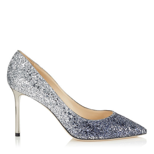 ROMY 110 Navy and Silver Coarse Glitter Degradé Pointy Toe Pumps