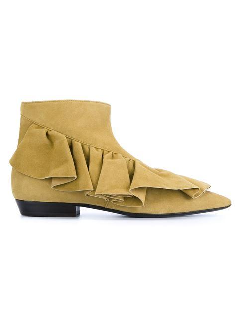Women's Suede Ruffle Ankle Boots in Beige