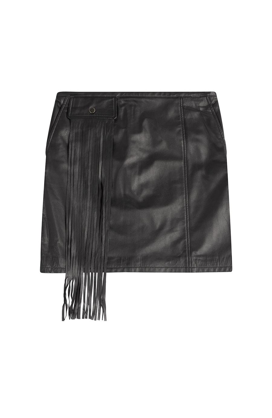 Lambskin Leather Mini Skirt W/ Fringe Pocket