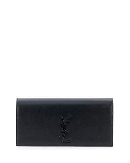 Saint Laurent Clutches MONOGRAM LEATHER CLUTCH BAG, BLACK