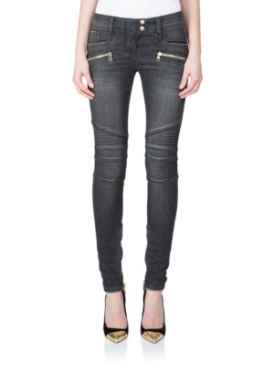 Black Distressed Biker Jeans