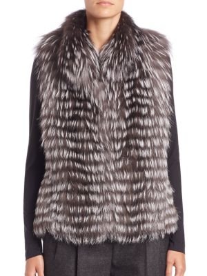 Horizontal Fox Fur Vest