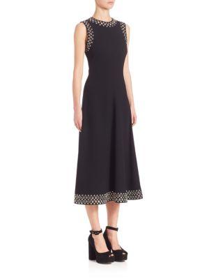 WOMAN EYELET-EMBELLISHED CREPE MIDI DRESS BLACK