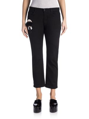 Karlito Fur-Detail Cropped Jeans