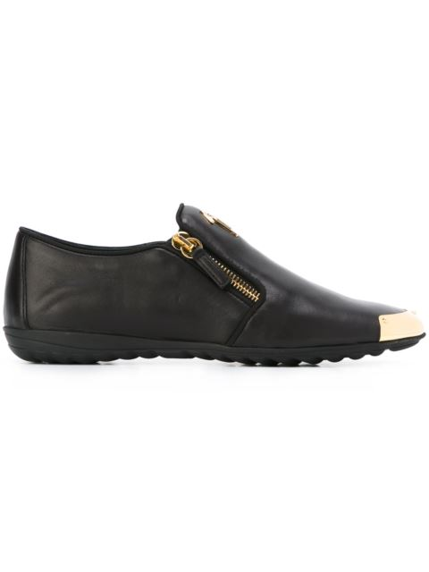 - BLACK CALFSKIN LEATHER LOAFER WITH METAL-COVERED TIP SAYLOR