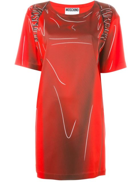 SHADOW PRINTED STRETCH ENVER SATIN DRESS, RED/BLACK