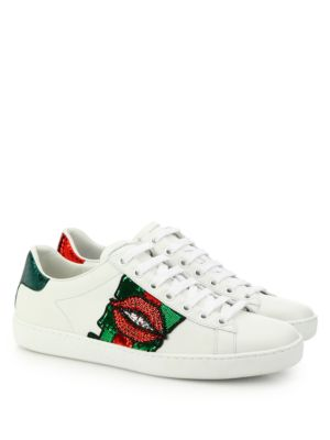 Ace Lip-Embroidered Leather Low-Top Sneakers