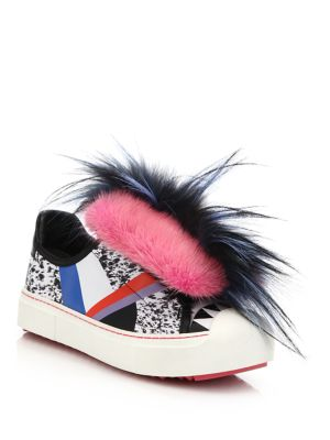 'Fflynn' Genuine Mink & Genuine Fox Fur Trim Low Top Sneaker (Women)