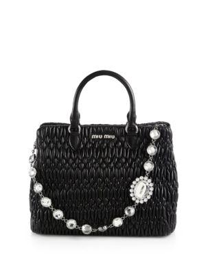 Nappa Crystal Matelasse Leather Satchel