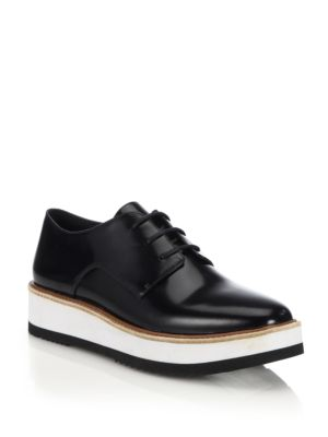Reed Glazed Leather Platform Oxfords