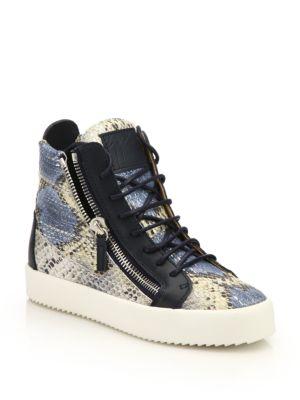 Snake-Embossed Leather High-Top Zip Sneakers