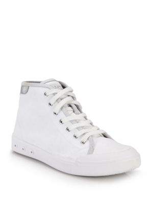 WOMAN STANDARD ISSUE LEATHER-TRIMMED CANVAS HIGH-TOP SNEAKERS WHITE