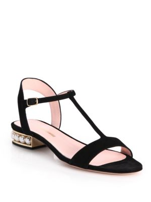 Casati Pearly Metallic Flat Sandal, Black/Cream