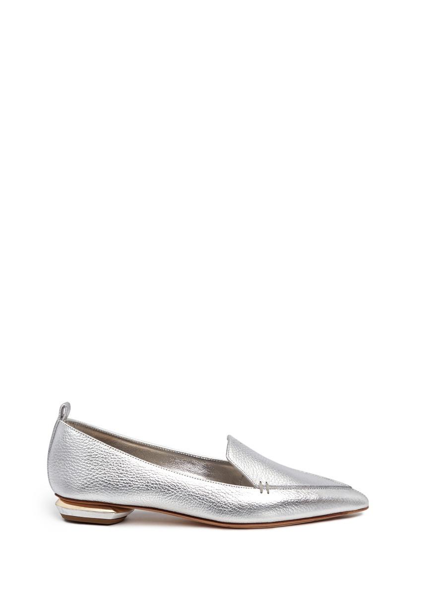 'Beya' metal heel metallic leather skimmer loafers