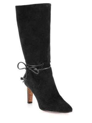 ANKLE-TIE LEATHER ANKLE BOOT, BLACK