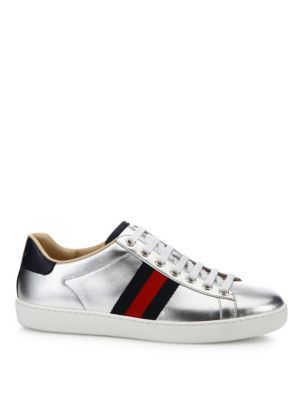 NEW ACE METALLIC LEATHER WEB SNEAKERS, TODDLER/YOUTH SIZES 10T-2Y
