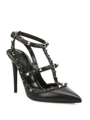 Noir Rockstud Leather Ankle-Strap Sandals