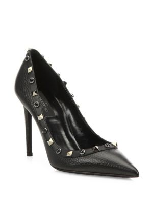 Noir Rockstud Leather Point-Toe Pumps