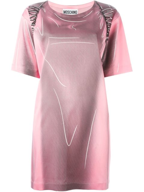 SHADOW PRINTED STRETCH ENVER SATIN DRESS, PINK/BLACK