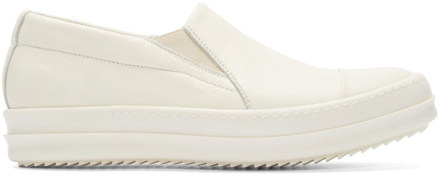 White Leather Boat Sneakers