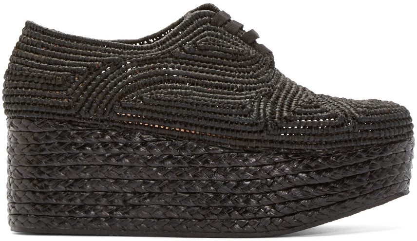 Black Platform Raffia Pinto Shoes
