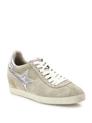 Guepard Bis Suede & Metallic Leather Wedge Sneakers