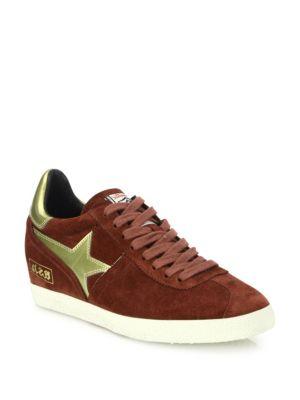 Guepard Bis Suede & Faux Metallic Leather Wedge Sneakers