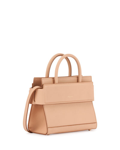 MEDIUM HORIZON GRAINED CALFSKIN LEATHER TOTE - BEIGE