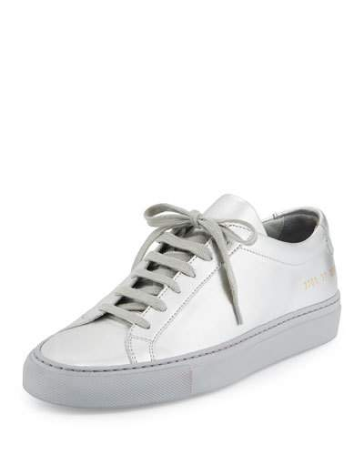 ACHILLES LEATHER LOW-TOP SNEAKER, SILVER