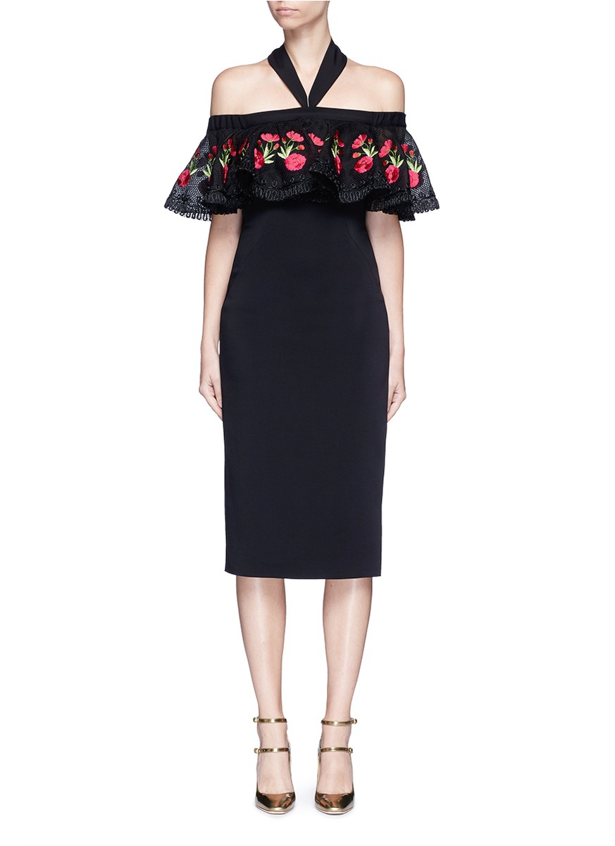 Temperley London Downs 'Lyra' floral embroidery off-shoulder halter dress