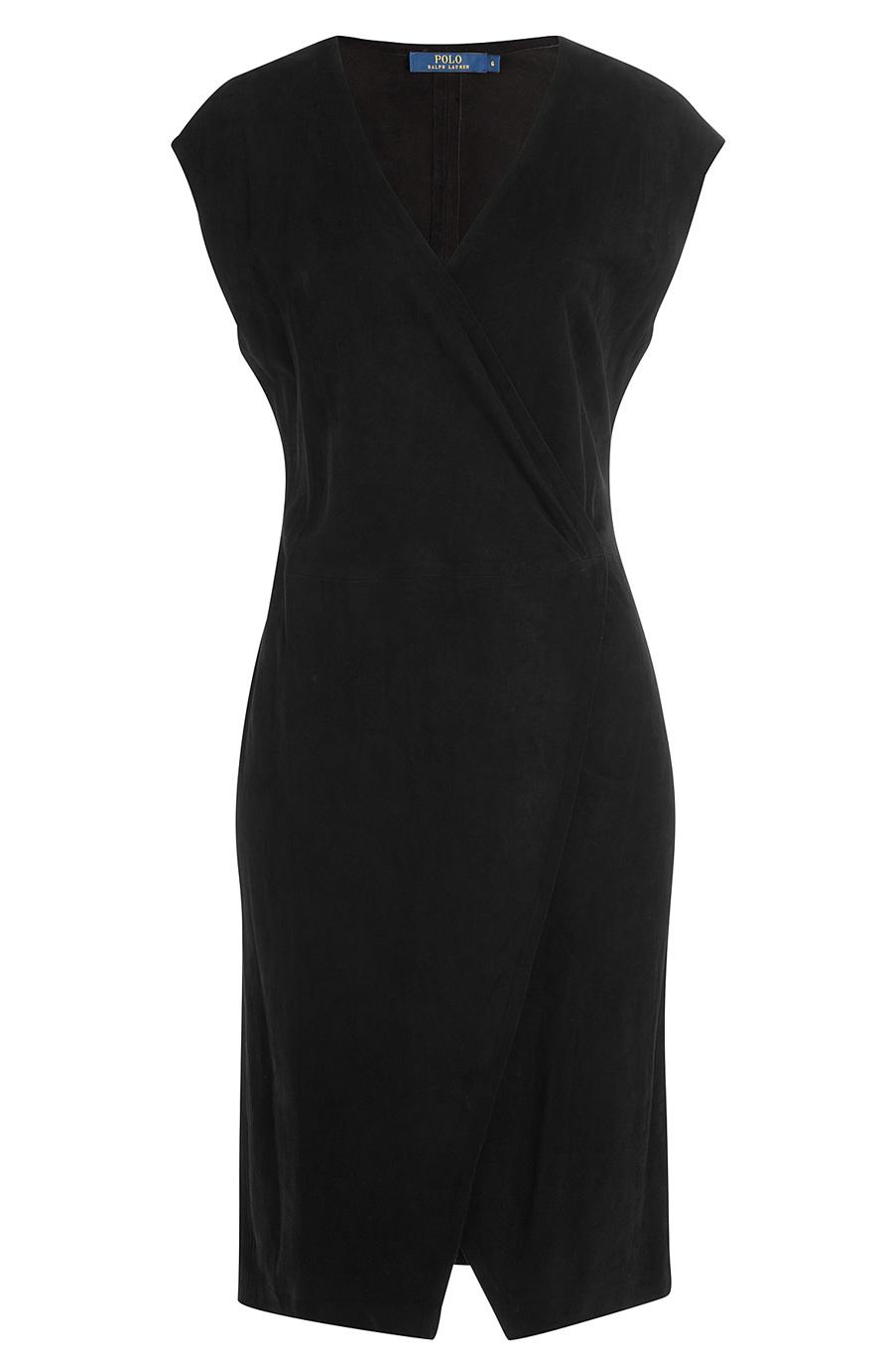 Suede Cap-Sleeve Wrap Dress