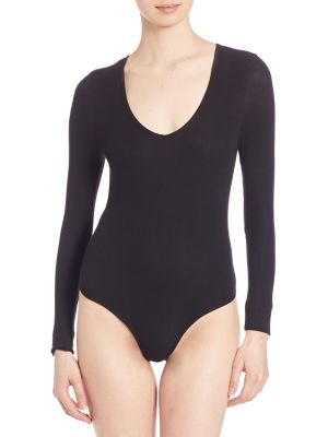 ATM ANTHONY THOMAS MELILLO Bodysuits Solid V-Neck Bodysuit