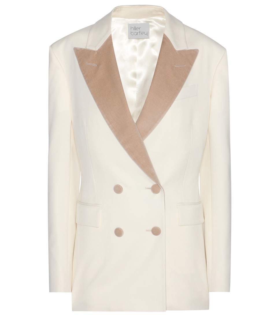 HILLIER BARTLEY BARATHEA VELVET AND WOOL JACKET, WHITE